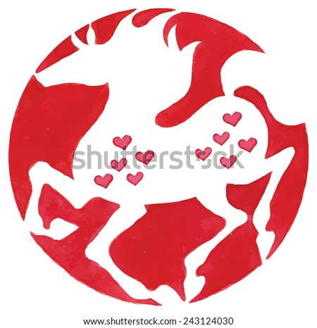 Horses silhouette with hearts vector watercolor illustration - stock vector