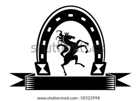 Horseshoe lucky symbol - also as emblem. Jpeg version also available in gallery - stock vector