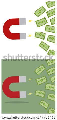 Horseshoe Magnet Attracting Cash Money. Flat Style Vector Collection Set - stock vector