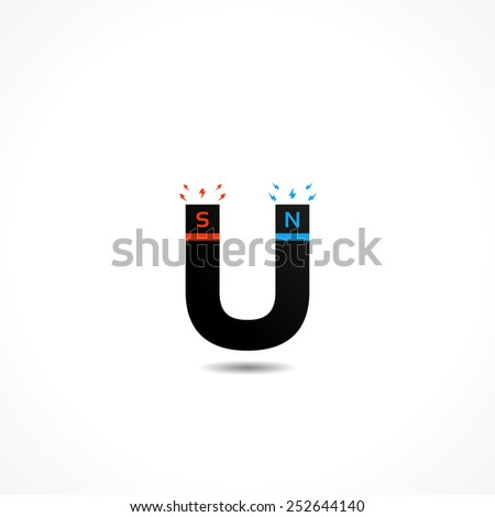 Horseshoe Magnet attracts. Illustration, Vector icon - stock vector
