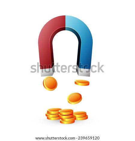 Horseshoe magnet isolated on white background, excellent vector illustration - stock vector