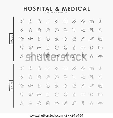 hospital and medical on bold and thin outline icons concept - stock vector