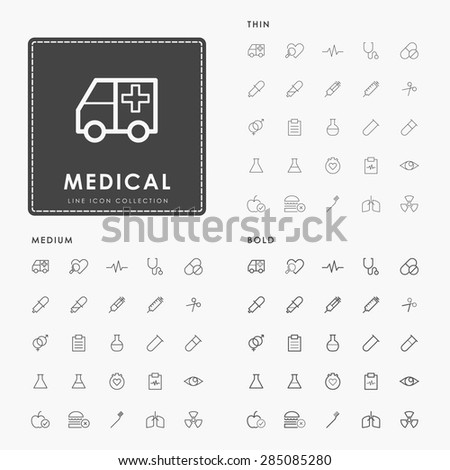 hospital and medical on thin, medium and bold line icons concept - stock vector