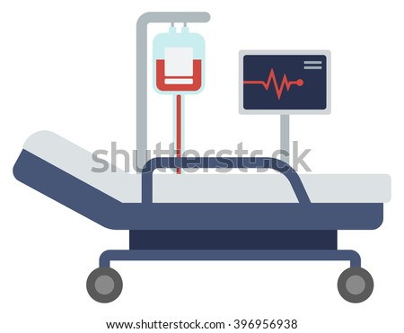 Hospital bed with medical equipments. - stock vector