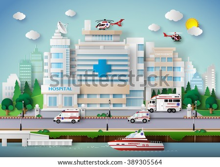 hospital building and emergency transport. - stock vector