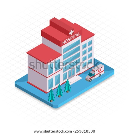 Hospital building. Isometric 3d pixel design icon. Vector illustration for web banners and website infographics. - stock vector