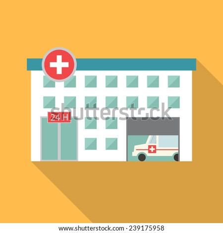 Hospital building, medical icon. Flat design vector with long shadow - stock vector