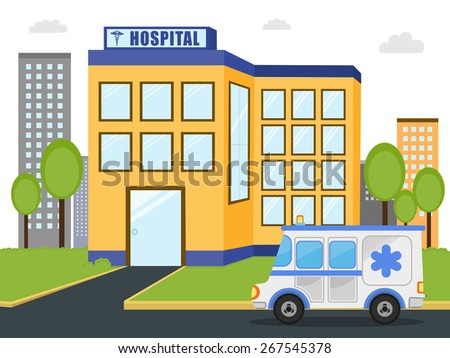 Hospital building with emercency ambulance vehicle standing outside. - stock vector