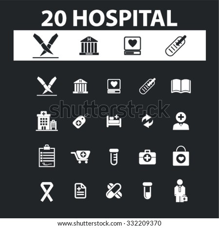 hospital, clinic icons, signs concept vector set for website, mobile, infographics - stock vector