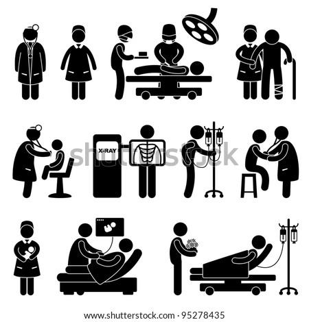 Hospital Clinic Medical Healthcare Doctor Nurse Stock Vector