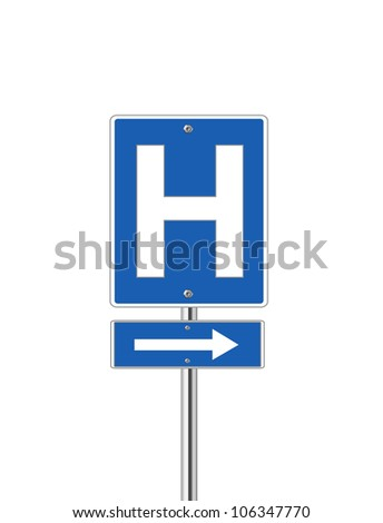 Hospital direction sign on white background - stock vector