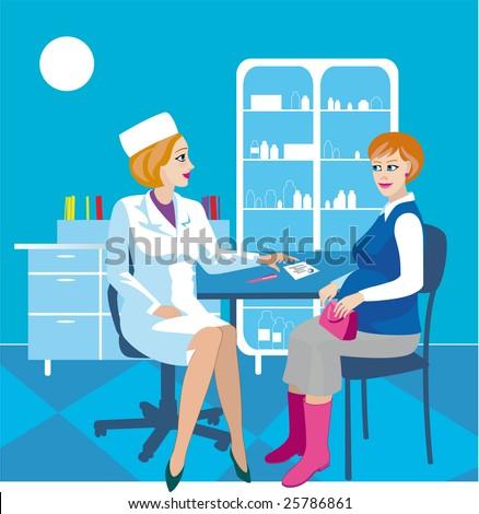hospital doctor medicine patient medical pregnancy - stock vector