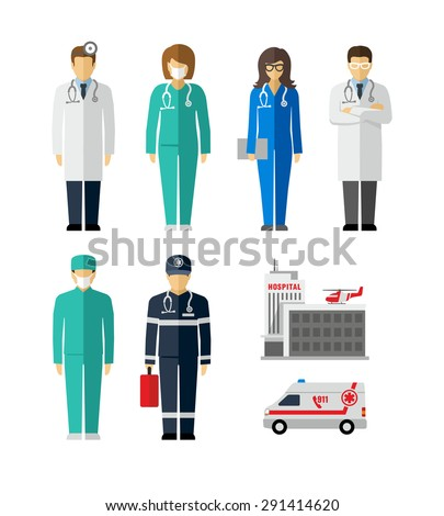 Hospital Doctor Surgeons Nurse Paramedic vector figures icons  - stock vector