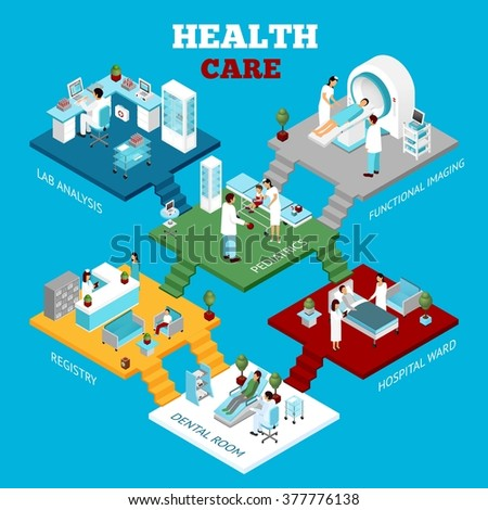 Hospital healthcare departments laboratory tests unit and reception colorful isometric composition poster abstract vector  illustration - stock vector