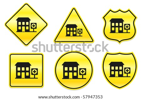 Hospital Icon on Yellow Designs Original Illustration