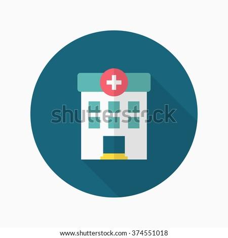 Hospital icon , Vector flat long shadow design.  - stock vector