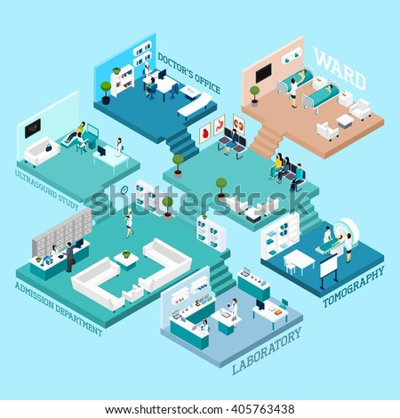 Hospital icons Isometric abstract scheme with various rooms staff  equipment and interior connected by stairs  vector illustration - stock vector
