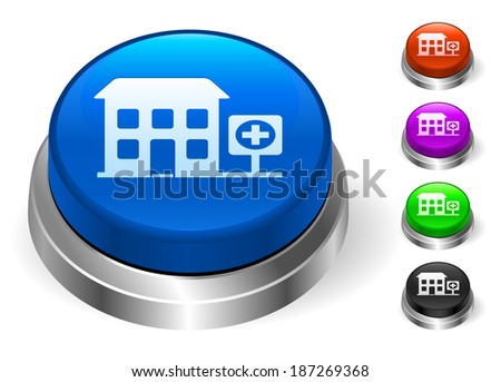 Hospital Icons on Round Button Collection