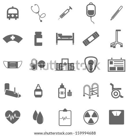 Hospital icons on white background, stock vector - stock vector