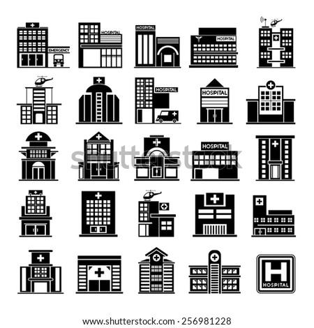 hospital icons set - stock vector
