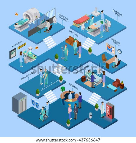 Hospital isometric infographics layout with nursing staff icons surgery operation composition mri and roentgen equipment decorative elements flat vector illustration - stock vector