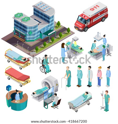 Hospital isometric isolated icons set of clinic building ambulance car diagnostic equipment patients and medical staff vector illustration - stock vector