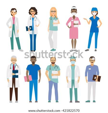 Hospital medical team. Medical staff vector illustration - stock vector