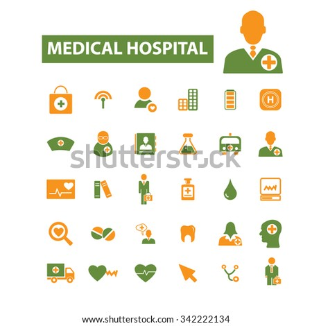 hospital, medicine  icons, signs vector concept set for infographics, mobile, website, application  - stock vector