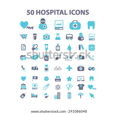 hospital, medicine isolated icons, signs, illustrations on white background for website, internet, mobile application, vector - stock vector