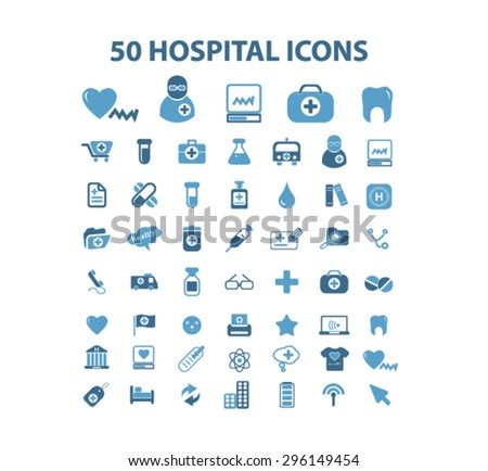 hospital, medicine, medical health care icons, signs, illustrations set, vector - stock vector