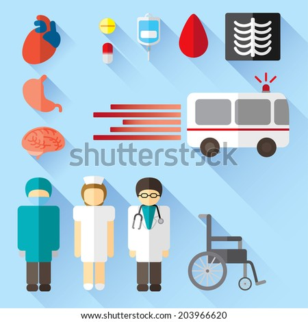 hospital related flat icons - stock vector