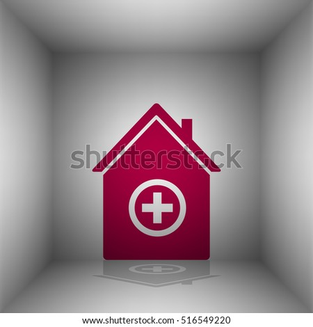 Hospital sign illustration. Bordo icon with shadow in the room.