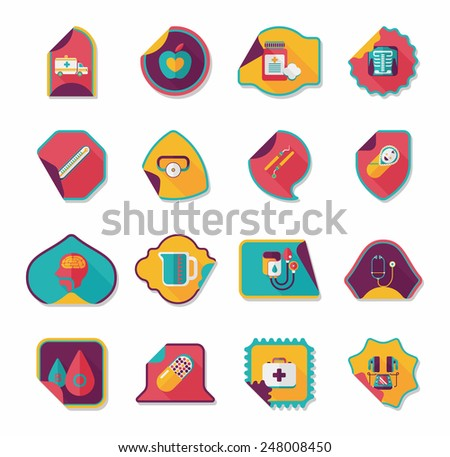 Hospital sticker flat banner background set, eps10
