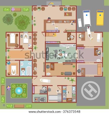 Hospital vector (top view) - stock vector