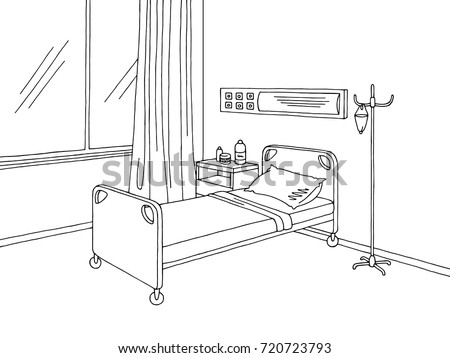 how to draw a hospital bed