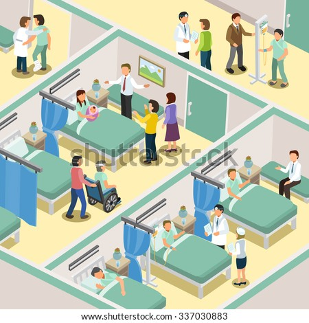 Hospital ward interior 3d isometric flat stock vector for 3d flat design online
