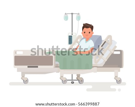 Hospitalization of the patient. A sick person is in a medical bed on a drip. Vector illustration in a flat style