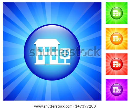 Hosptial Icon on Round Button with Blue Glow
