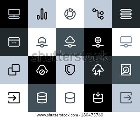 Hosting and wireless icons. Flat - stock vector