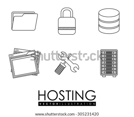 Hosting digital design, vector illustration eps 10.