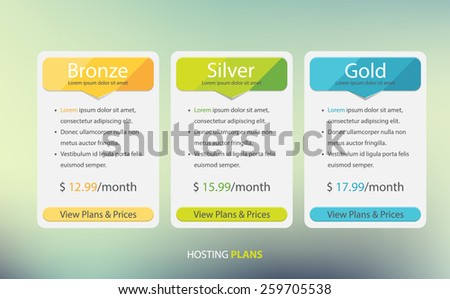 Hosting plans and price list web boxes design. - stock vector
