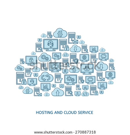 Hosting server database network and cloud service icons - stock vector