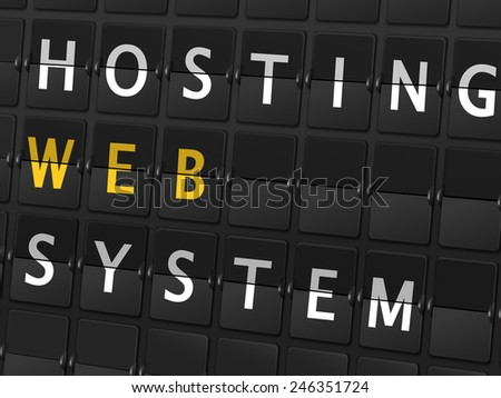 hosting web system words on airport board background - stock vector