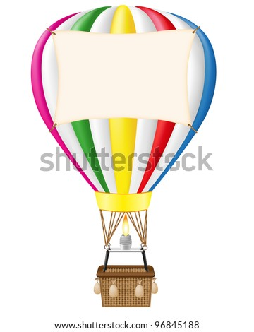 hot air balloon and blank banner vector illustration isolated on white background - stock vector