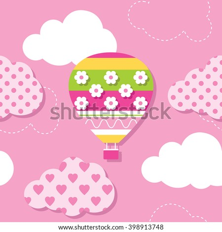 hot air balloon and clouds pattern - stock vector