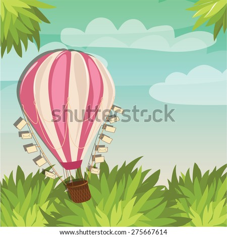 Hot Air balloon and colorful landscape - Vector Illustration - stock vector