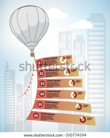 Hot air balloon and flags infographic with city building - stock vector