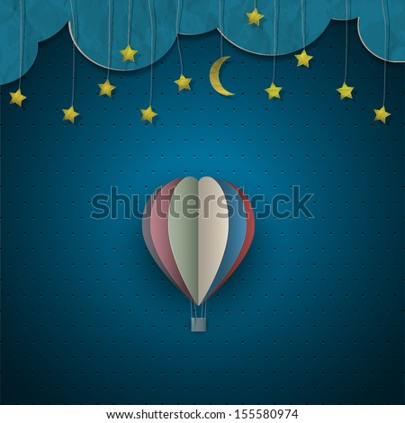 Hot air balloon and moon with stars. Vector paper-art - stock vector