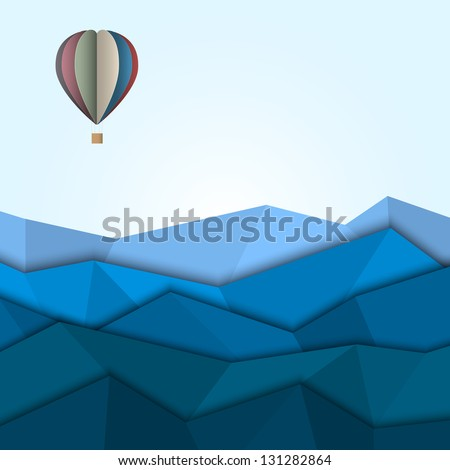 Hot air balloon and mountains from paper. Creative vector eps 10 - stock vector