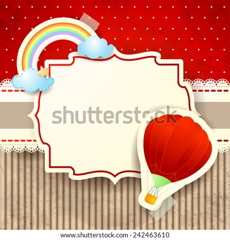 Hot air balloon and rainbow over cardboard background, vector eps10 - stock vector